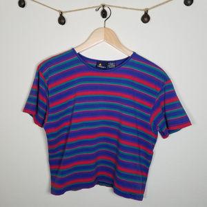 Vintage 90's LizSport Horizontal Stripe Crop Top L